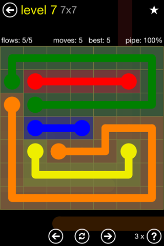 Solution and Answer to the Puzzle for Flow Regular Pack Set 7x7 Level 7