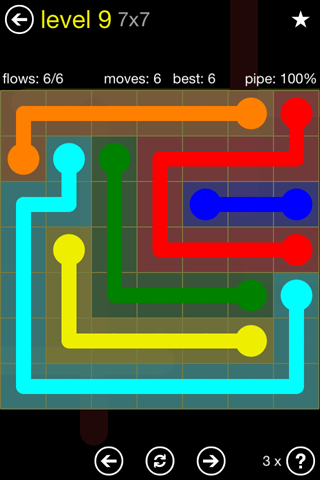 Solution and Answer to the Puzzle for Flow Regular Pack Set 7x7 Level 9