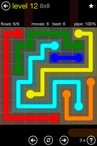 Solution and Answer to the Puzzle for Flow Regular Pack Set 8x8 Level 12