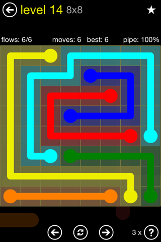 Solution and Answer to the Puzzle for Flow Regular Pack Set 8x8 Level 14