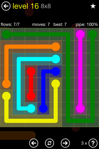 Solution and Answer to the Puzzle for Flow Regular Pack Set 8x8 Level 16