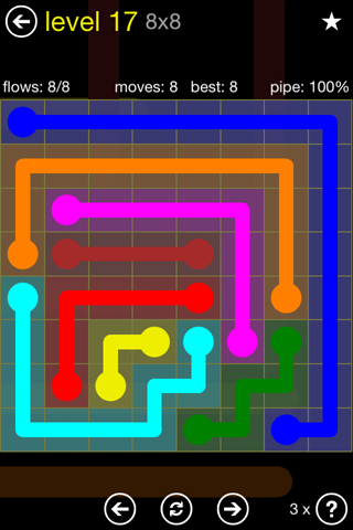 Solution and Answer to the Puzzle for Flow Regular Pack Set 8x8 Level 17