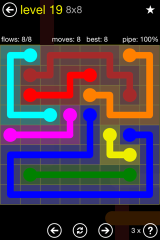 Solution and Answer to the Puzzle for Flow Regular Pack Set 8x8 Level 19