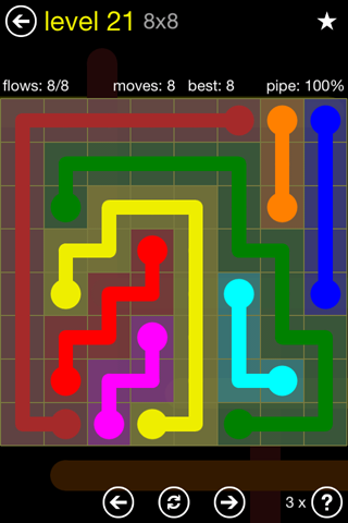 Solution and Answer to the Puzzle for Flow Regular Pack Set 8x8 Level 21