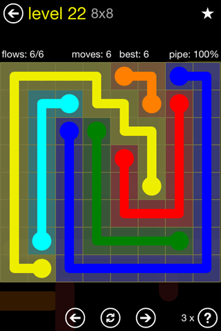 Solution and Answer to the Puzzle for Flow Regular Pack Set 8x8 Level 22