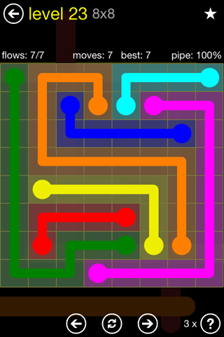 Solution and Answer to the Puzzle for Flow Regular Pack Set 8x8 Level 23