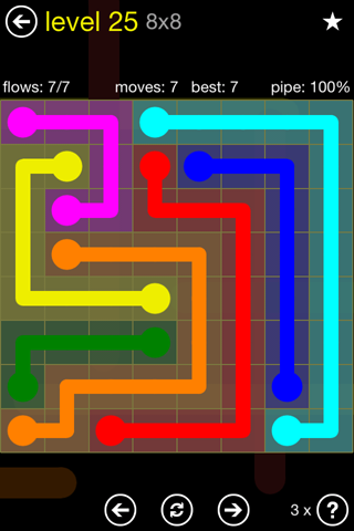 Solution and Answer to the Puzzle for Flow Regular Pack Set 8x8 Level 25