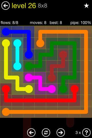 Solution and Answer to the Puzzle for Flow Regular Pack Set 8x8 Level 26