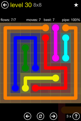 Solution and Answer to the Puzzle for Flow Regular Pack Set 8x8 Level 30