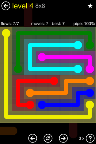 Solution and Answer to the Puzzle for Flow Regular Pack Set 8x8 Level 4
