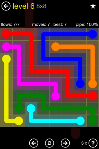 Solution and Answer to the Puzzle for Flow Regular Pack Set 8x8 Level 6