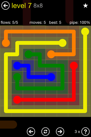 Solution and Answer to the Puzzle for Flow Regular Pack Set 8x8 Level 7