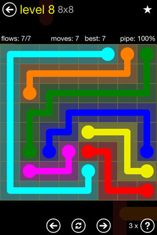 Solution and Answer to the Puzzle for Flow Regular Pack Set 8x8 Level 8