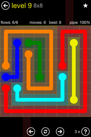 Solution and Answer to the Puzzle for Flow Regular Pack Set 8x8 Level 9