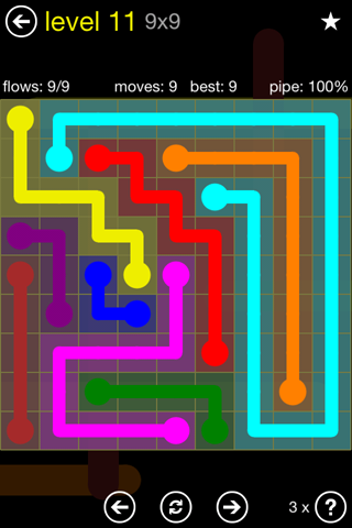 Solution and Answer to the Puzzle for Flow Regular Pack Set 9x9 Level 11