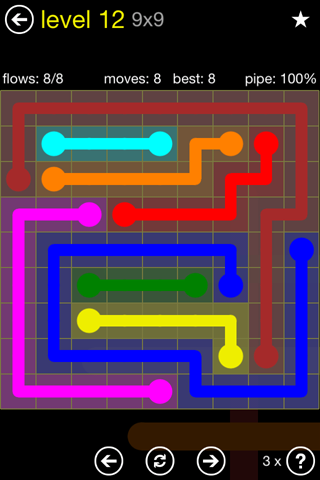 Solution and Answer to the Puzzle for Flow Regular Pack Set 9x9 Level 12