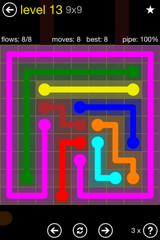 Solution and Answer to the Puzzle for Flow Regular Pack Set 9x9 Level 13