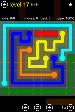 Solution and Answer to the Puzzle for Flow Regular Pack Set 9x9 Level 17