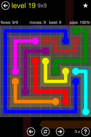 Solution and Answer to the Puzzle for Flow Regular Pack Set 9x9 Level 19