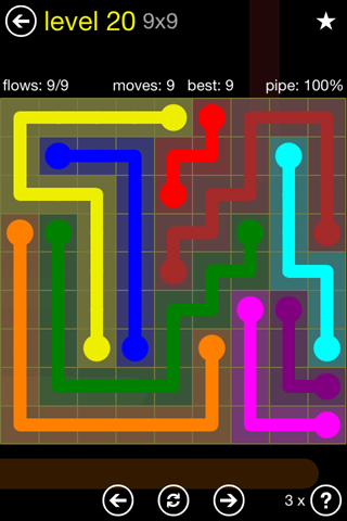 Solution and Answer to the Puzzle for Flow Regular Pack Set 9x9 Level 20