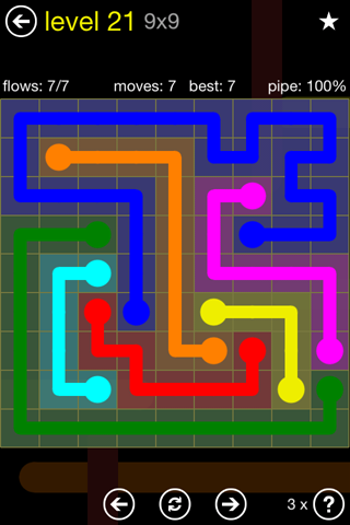 Solution and Answer to the Puzzle for Flow Regular Pack Set 9x9 Level 21