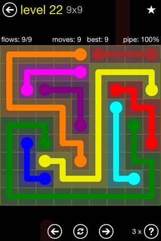 Solution and Answer to the Puzzle for Flow Regular Pack Set 9x9 Level 22
