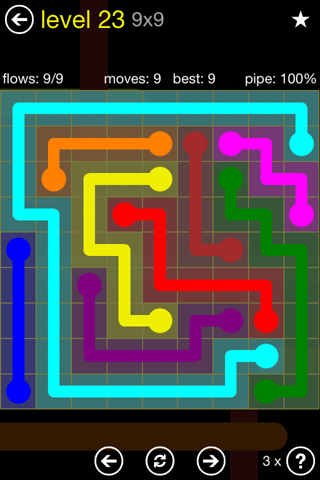 Solution and Answer to the Puzzle for Flow Regular Pack Set 9x9 Level 23