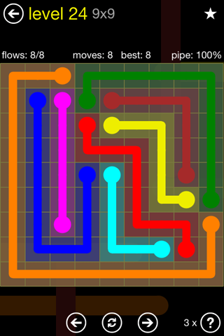 Solution and Answer to the Puzzle for Flow Regular Pack Set 9x9 Level 24