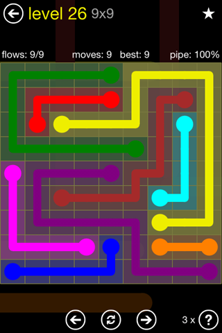 Solution and Answer to the Puzzle for Flow Regular Pack Set 9x9 Level 26