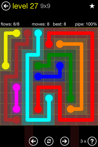 Solution and Answer to the Puzzle for Flow Regular Pack Set 9x9 Level 27