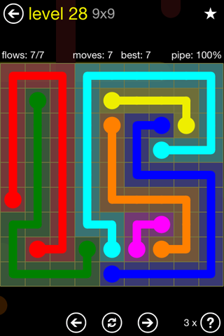 Solution and Answer to the Puzzle for Flow Regular Pack Set 9x9 Level 28