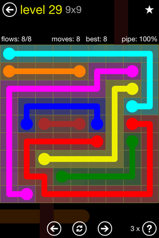 Solution and Answer to the Puzzle for Flow Regular Pack Set 9x9 Level 29
