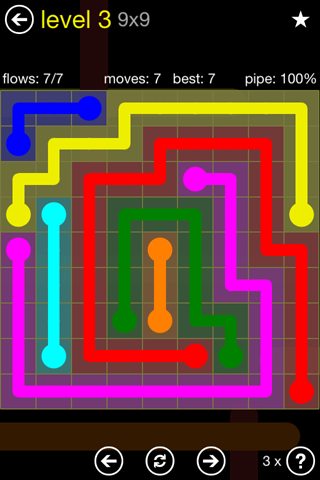 Solution and Answer to the Puzzle for Flow Regular Pack Set 9x9 Level 3