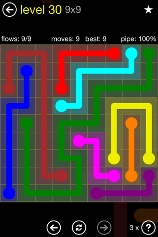 Solution and Answer to the Puzzle for Flow Regular Pack Set 9x9 Level 30