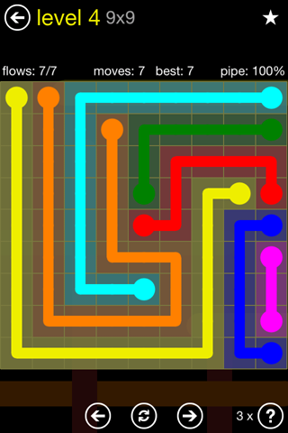 Solution and Answer to the Puzzle for Flow Regular Pack Set 9x9 Level 4