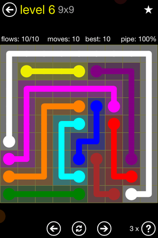 Solution and Answer to the Puzzle for Flow Regular Pack Set 9x9 Level 6