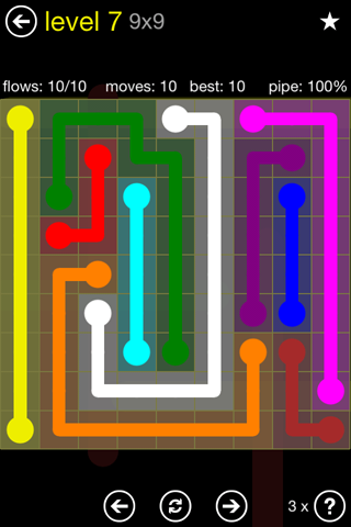Solution and Answer to the Puzzle for Flow Regular Pack Set 9x9 Level 7