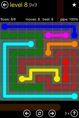 Solution and Answer to the Puzzle for Flow Regular Pack Set 9x9 Level 8