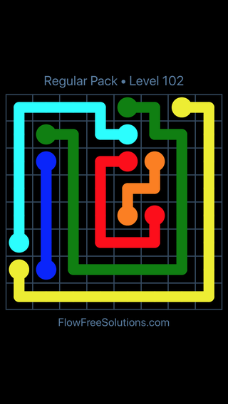 Solution and Answer to the Puzzle for Flow Free Regular Pack Level 12