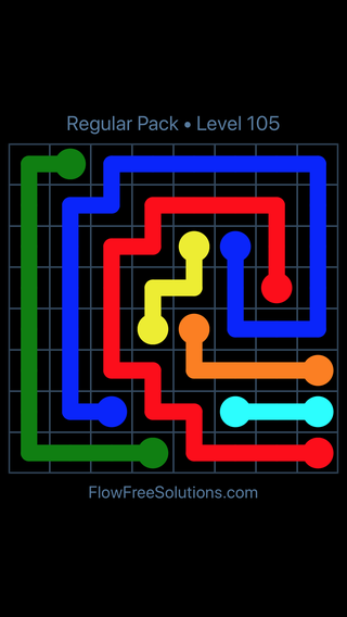 Solution and Answer to the Puzzle for Flow Free Regular Pack Level 15