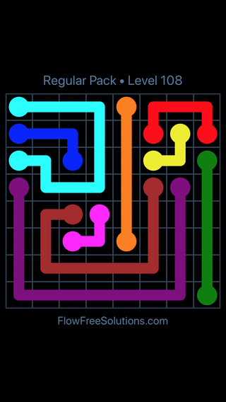 Solution and Answer to the Puzzle for Flow Free Regular Pack Level 18