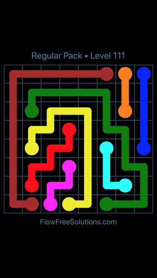 Solution and Answer to the Puzzle for Flow Free Regular Pack Level 21