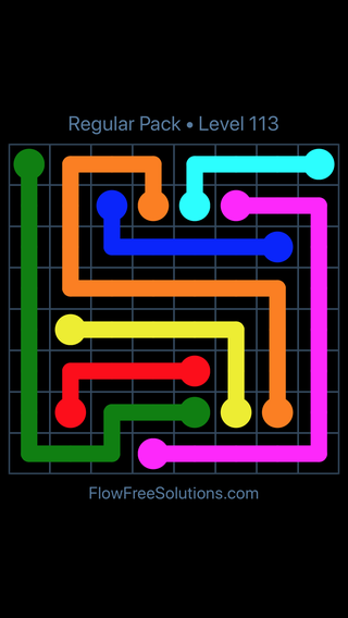 Solution and Answer to the Puzzle for Flow Free Regular Pack Level 23