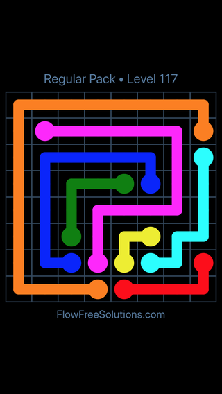 Solution and Answer to the Puzzle for Flow Free Regular Pack Level 27