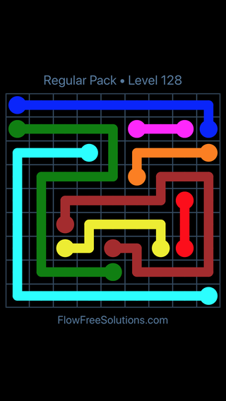 Solution and Answer to the Puzzle for Flow Free Regular Pack Level 8