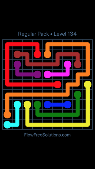 Solution and Answer to the Puzzle for Flow Free Regular Pack Level 14