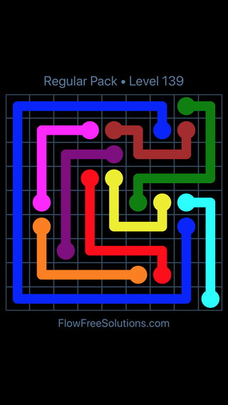 Solution and Answer to the Puzzle for Flow Free Regular Pack Level 19
