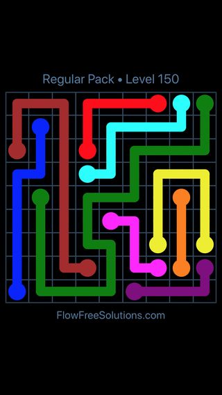 Solution and Answer to the Puzzle for Flow Free Regular Pack Level 30