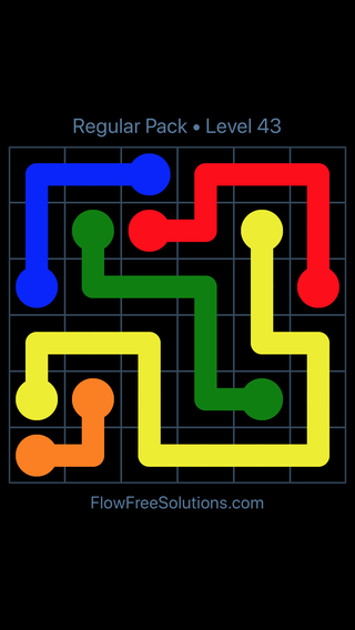Solution and Answer to the Puzzle for Flow Free Regular Pack Level 13