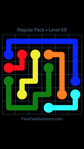 Solution and Answer to the Puzzle for Flow Free Regular Pack Level 29